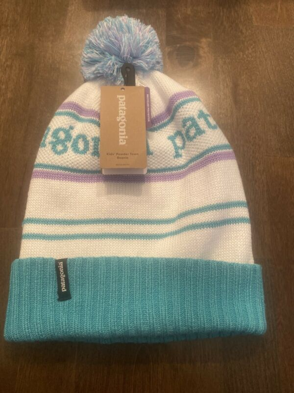 Patagonia Kids (Young Adult) Powder Town Beanie. Plains Green w/White and...