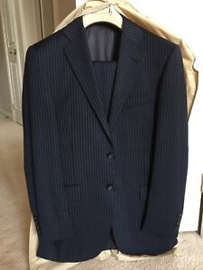 Men's BURBERRY Suit | 36R | W30 | Blue Stripe | 100% Wool | EXC+
