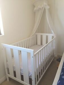 Baby cot white with canopy Meadowbank Ryde Area Preview