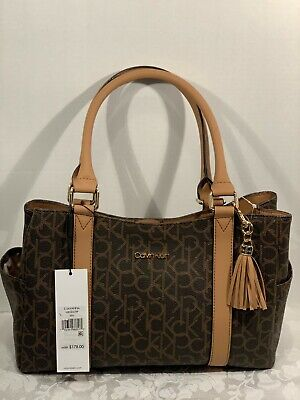 Genuine Calvin Klein Signature Savanna Double Handle Tote  NWT -