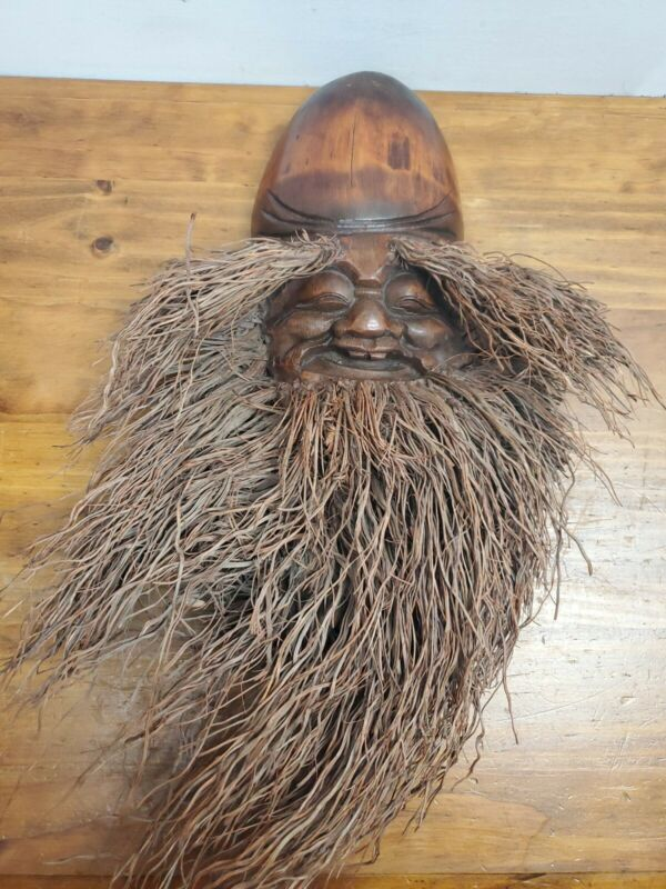 Asian Wood Carved Bearded Mask USED