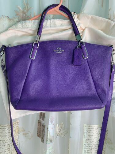 RARE Coach Kelsey Satchel Violet Purple Leather Purse New wi