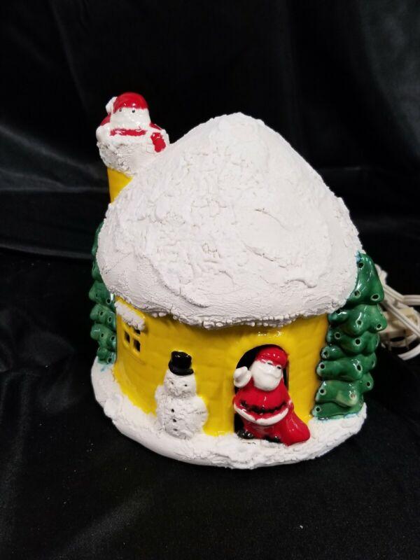 RARE YELLOW VTG CHRISTMAS CERAMIC LIGHT UP SNOW HOUSE COTTAGE IGLOO SNOWMAN TREE