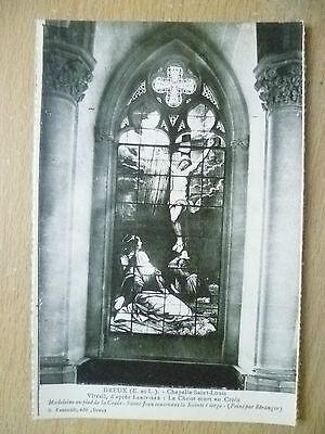 Postcard- DREUX, Chapelle Saint Louis-Vitrail d'apres Larivviere,Le Christ mort