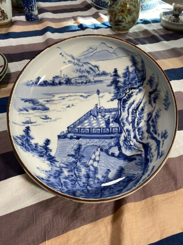 A Superb Antique Chinese Blue And White Porcelain Brush Washer With Poem