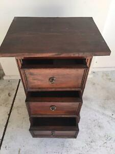 TWO (2) BALINESE-JAVANESE BEDSIDE TABLES (DRAWERS)