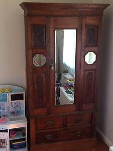 Antique wardrobe with bevalled mirrors and 3 draws Neutral Bay North Sydney Area Preview