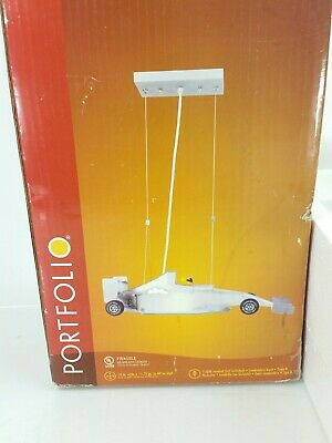 Portfolio Racing Car Mini Pendant Hanging Light Pewter Finish Frosted Glass New