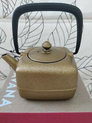 TEAVANA Metallic Gold Black Yoho Cast Iron Square Teapot 16 Oz With Infuser -
