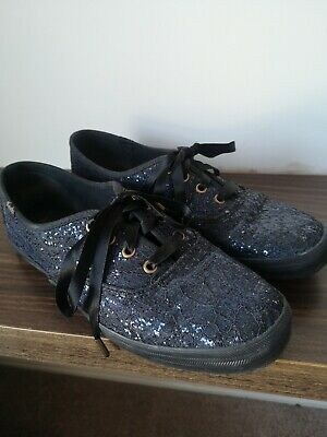 Glittery Dark Blue With Ribbon Laces Taylor Swift Keds Pumps UK Size 4.5 Only...
