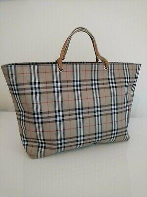 BURBERRY Nova Check Tote Hand Bag Brown Nylon Leather Vintage London