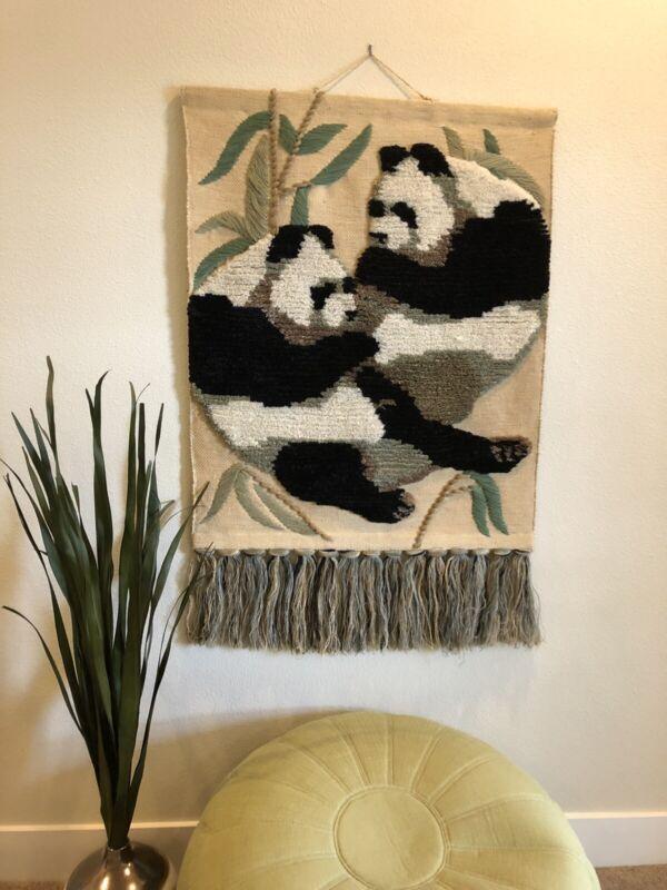 """Large VTG Panda Wall Hanging Fiber Art Textile Tom Taylor 1990 Boho Decor 45x30"""""""