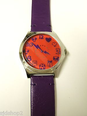 (M) MARC JACOBS RED DIAL WATCH PURPLE LEATHER BAND MBM5020 NWOT WORKING BATTERY