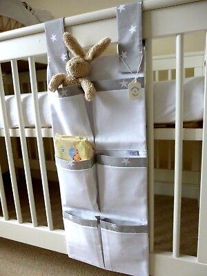 Nursery Cot Organiser/Tidy Grey & White Stars 100% Cotton Baby Gift - BNWT