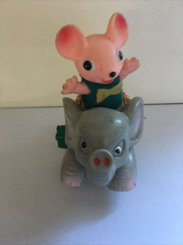 FLYING DUMBO ELEPHANT WIND UP SOFT PLASTIC TOY WITH MOUSE RIDING ON TOP