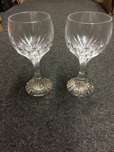 2 Baccarat Crystal Massena Water Wine Goblet Glasses - M/In France