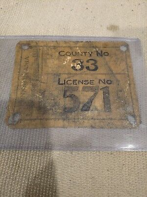 1913 PA Hunting License Canvas Jefferson County #33 low number #571 Pennsylvania
