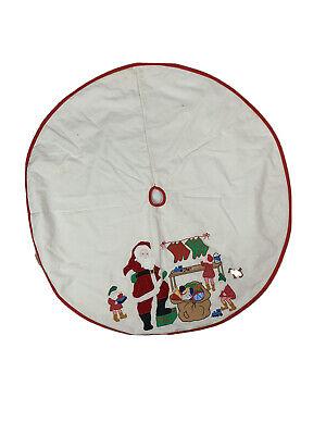 Vintage Christmas Tree Skirt Appliqued Cotton Santas Workshop Presents