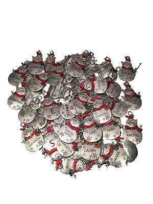 HALLMARK Ganz Christmas Holiday Snowman Metal Ornaments Boy Girl Names -
