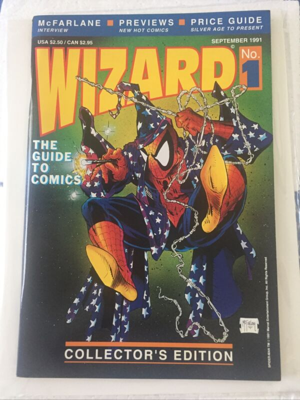 Wizard The Guide To Comics 1 Attached Spidey Poster Very Fine/Near Mint