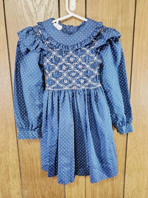 Vintage Polly Flinders Dress Size 5 Navy Blue Hand Smocked