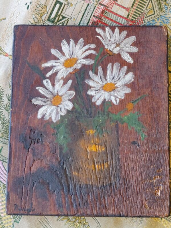 Vintage Country Original Oil Painting On Wood Signed By Artist Mary K Howard