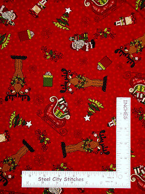 Christmas Deer Santa Sleigh Red Cotton Fabric HG&Co Glad Tidings By The Yard