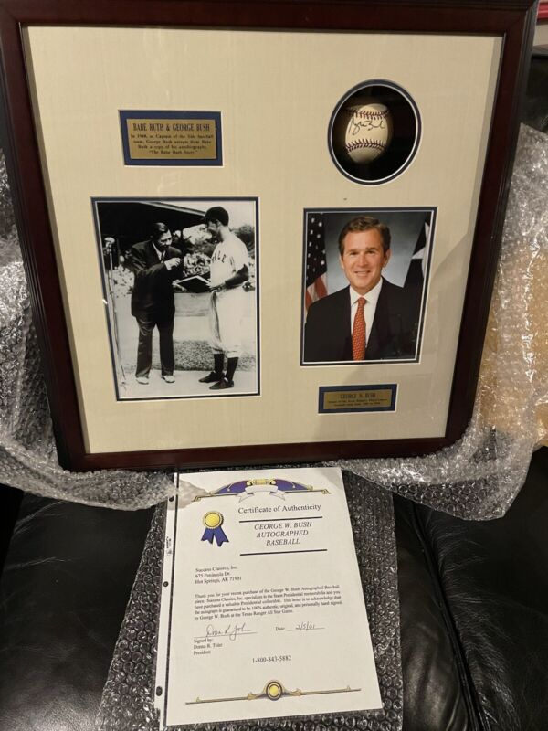George W Bush Autographed Baseball With Photo Plaque and signed COA