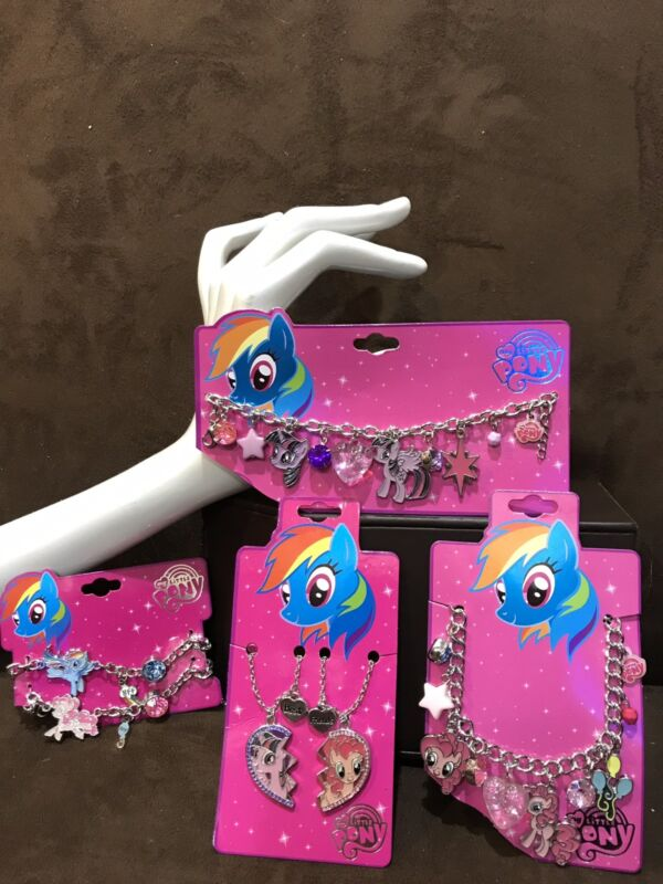 MY LITTLE PONY CHARM BRACELET/CHARM NECKLACE/BFF-HEART FOR 2 JEWELRY SUPER CUTE!