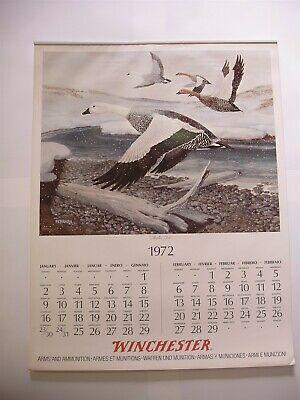 Rare Original Complete 1972 Winchester 6 page Calendar with Ferrara Graphics