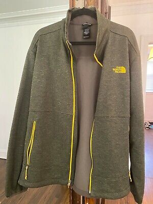 The North Face Mens Softshell Full-Zip Jacket Green Yellow XXL GREAT Condition!!