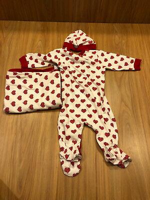 Coccoli 3 Months Baby Girls Jersey Knit Cotton Footie Cap Cranberry Almond -