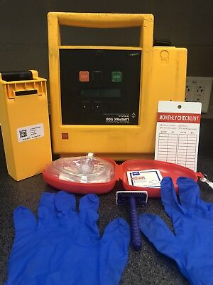 Physio Control Lifepak 500-patient Ready W New Battery Pads And Response Kit.