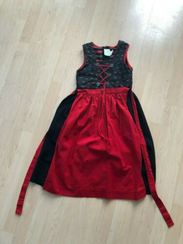Usar Trachten Heidi German Dirndl Dress Girls Size 9-10  EUR 128 Red Edelweiss