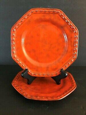 MCM Rosenthal Netter Burnt Orange Molten Glaze Set of 2 Hex 7