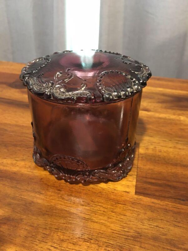 Beautiful Antique 1905 Amethyst Depression Glass Lidded Candy Jar Trinket Dish