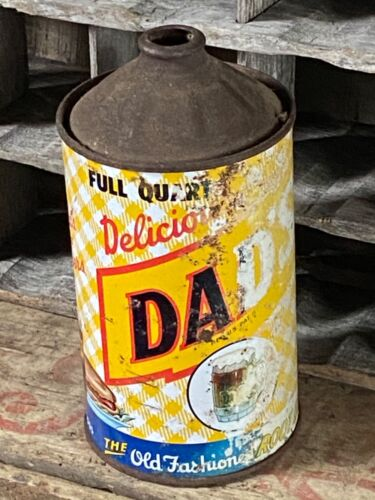 Vintage 1950s DAD'S Old Fashioned Root Beer 32oz Quart Cone Top Tin Can