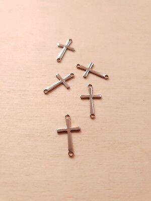 5 x Kleine Kreuz Verbinder * Schmuckzubehör Basteln Deko Charms Edelstahl