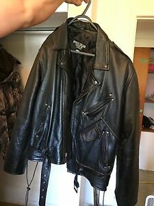 Men's  real leather motorcycle jacket