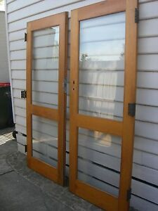 Double doors solid wood stained with glass panels Cheltenham Kingston Area Preview