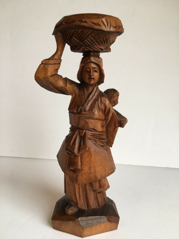 Vintage Kim Boo Ho Carved Wood Carving Korea Asian Woman Child Figure Figurine