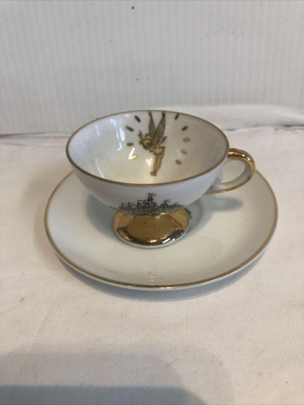 Vintage Walt Disney Disneyland Castle Tinkerbell Tea Cup Saucer Gold Trim