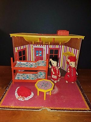 Vintage 1960s Remco Mr & Mrs. Mouse House w/ Furniture and Figures