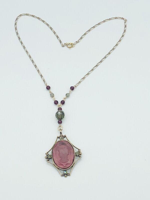 "Rare Vtg Antique Unique Amethyst Purple Cameo Carved Pendant Chain Necklace 16"""