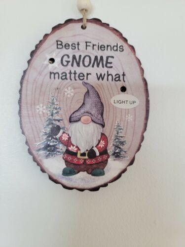 Ganz wood Light up Best Friend Gnome Matter What Ornament Free Ship USA