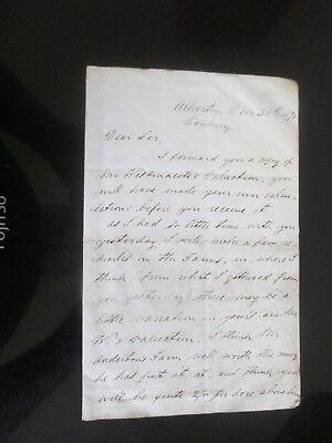 1871 ALKERTON BANBURY OXFORDSHIRE SIGNED LETTER