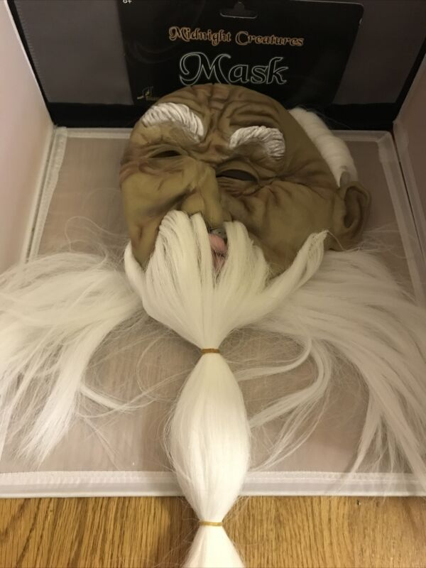 Midnight Creatures Scary Halloween Mask Creepy Long Haired Wizard Guy NEW