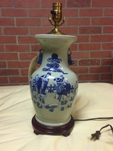 Chinese Celadon and blue porcelain  Lamp