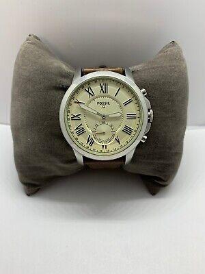 Fossil Q FTW1118 Men's Brown Leather Analog Beige Dial Hybrid Smart Watch OJ184