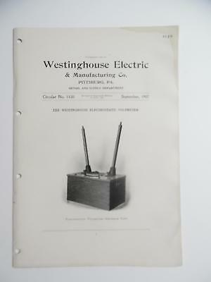 1907 Westinghouse Electrostatic Voltmeter Instrument Catalog Circular Antique